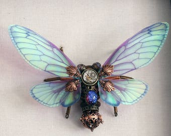 MADE TO ORDER : Steampunk cicada sculpture - Purple Green wings - Dragon's breath Glass.