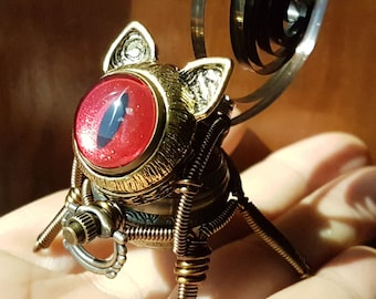 Little Steampunk cat robot sculpture - red iridescent eye