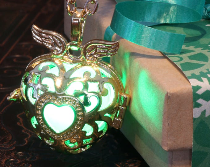 Necklace with golden glowing heart locket with wings, Valentine Winter Season Holiday Gift wrapping