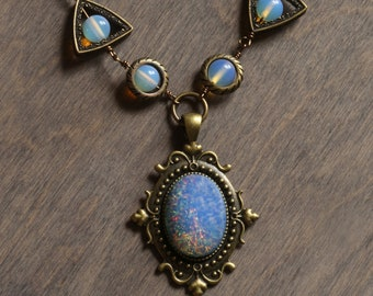 Neo Victorian Necklace with blue fire opal harlequin vintage glass and opalite moonstone