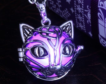 Silver glowing cat pendant - Red, blue, Orange, teal , white, warm white, green, purple, pink or rainbow -  Pick your color