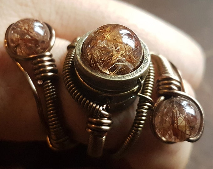 Rutilated Quartz Ring, Steampunk Ring - Adjustable Size 9.5 to 13 US - Bronze with copper rutilated quartz - One of a kind