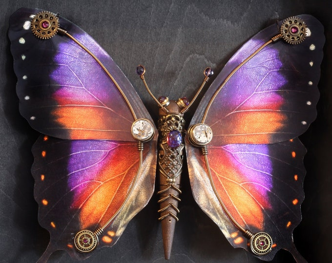 Steampunk butterfly sculpture with orange , purple, fuchsia and black wings - Limited series  15'' X 12.5'' X 2,25''
