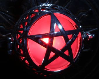 Glowing necklace, Pentagram pendant, locket with glowing LED orb ( choose your color )