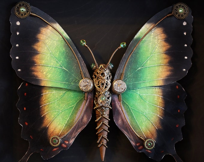 One of a kind steampunk butterfly sculpture with green, yellow and black wings 15'' X 12.5'' X 2,25''