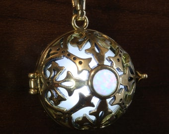 One glowing white opal locket pendant - Pick your glow orb color and metal finish