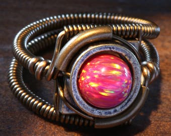Steampunk Jewelry - Ring - Ruby Red LAB created OPAL