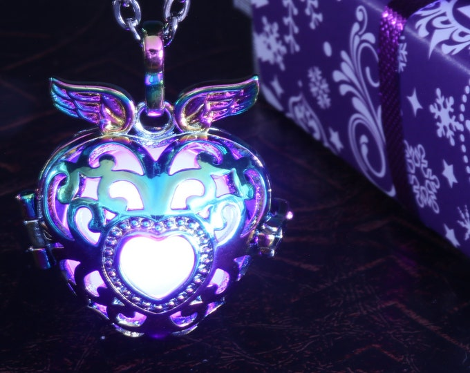Glowing heart locket rainbow metal pendant - Red, blue, Orange, teal , white, green, purple, pink or rainbow - Pick your glow orb color