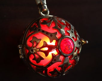 One glowing red opal locket pendant - Pick your glow orb color and metal finish