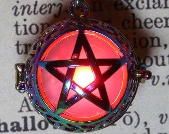 Glowing pentagram locket rainbow metal pendant - Red, blue, Orange, teal , white, green, purple, pink or rainbow - Pick your glow orb color