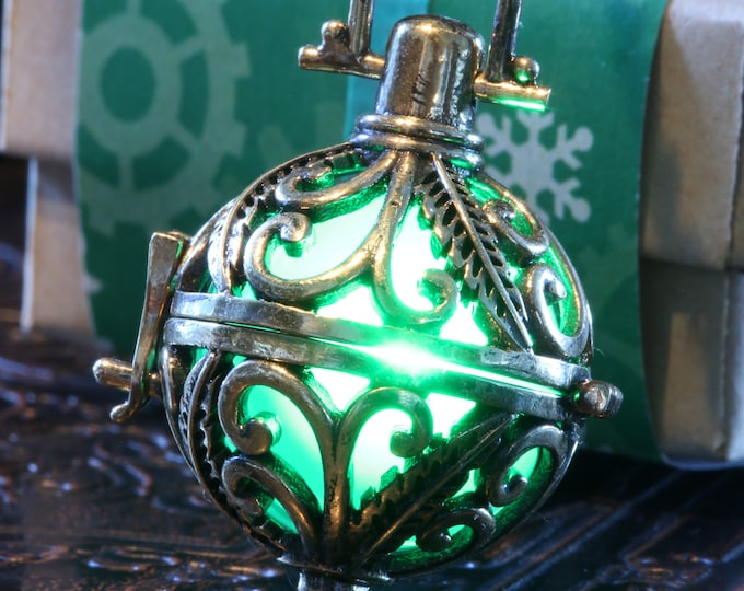 Glowing pendant, Antique Bronze. Valentine Winter Season Holiday Gift wrapping