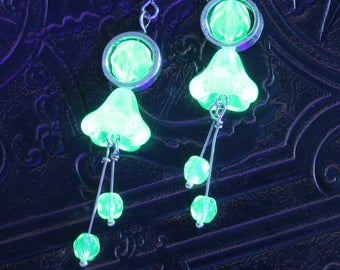 Uranium Vaseline glass flower drop earrings