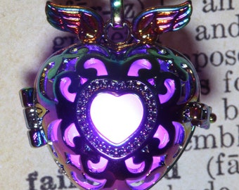 Glowing heart locket rainbow metal pendant - Red, blue, Orange, teal , white, green, purple, pink or rainbow - Pick your glow orb color