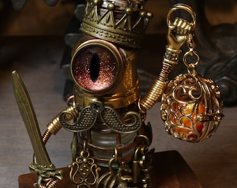 Steampunk Robot King Figurine with copper yellow golden iridescent eye, mustache, swords, miniature dice guardian, miniature dice cage