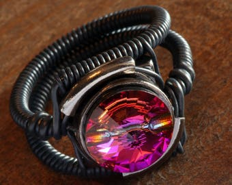 Steampunk Ring Swarovski Crystal