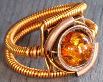 Amber ring, Steampunk Jewelry, Lab created Amber
