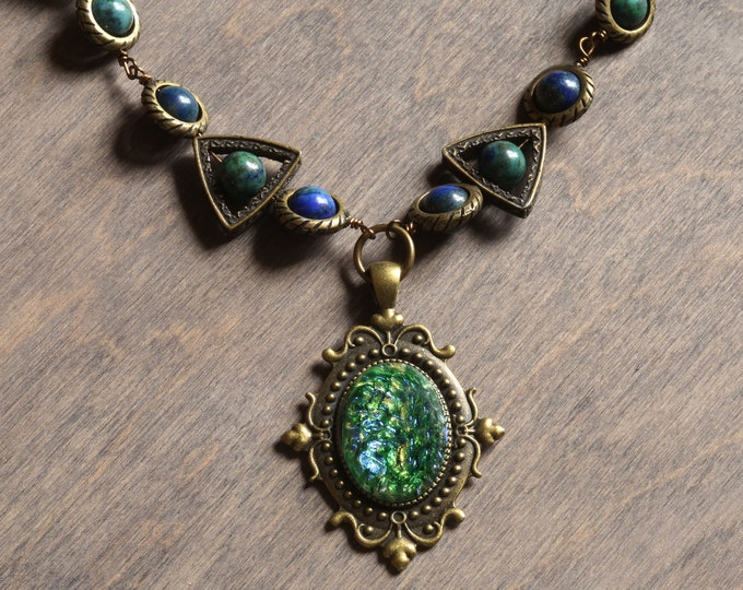 Neo Victorian Necklace with green harlequin glass and azurite