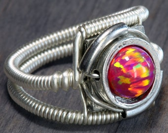 Opal ring, Cyberpunk jewelry, Ruby red, lab created opal, beautiful flash, see pictures