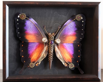Steampunk butterfly sculpture with orange , purple, fuchsia and black wings - Limited series