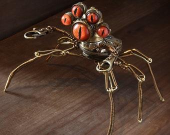 Steampunk Pseudo-scorpion Modron Robot Sculpture with Orange eyes