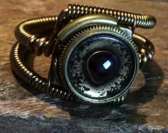 Steampunk eye ring, Pike eyeball ring, Taxidermy glass eye, Antique  bronze, hand-painted glass eye, fish eye, Original Steampunk Jewelry