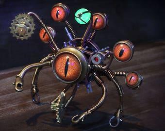 Steampunk Beholder Robot, Dungeons and dragons, dnd miniature, monster figurine, fantasy sculpture