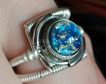 Steampunk Ring, Blue Harlequin Glass ,Silver tone ring band, Trending now
