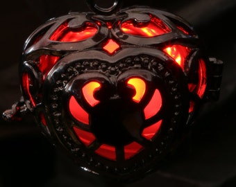 Heart Pendant Heart Jewellery Glowing Necklace - Glowing Red Heart- Lovely Valentine Gift for Her - LED jewelry - Black