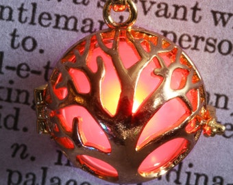 Glowing tree of life pendant glowing tree necklace glowing tree locket - Golden locket with glowing Orb  - Valentine Gift for her - Red LED