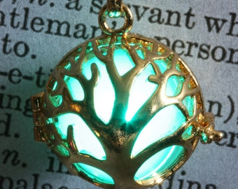 Glowing tree of life pendant glowing tree necklace glowing tree jewelry Golden locket Gift for her Teal
