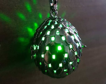 Black dragon egg glowing pendant necklace LED - Choose your color