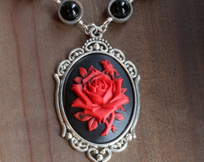 Steampunk Goth Jewelry - Necklace - Black and Red Rose Cameo