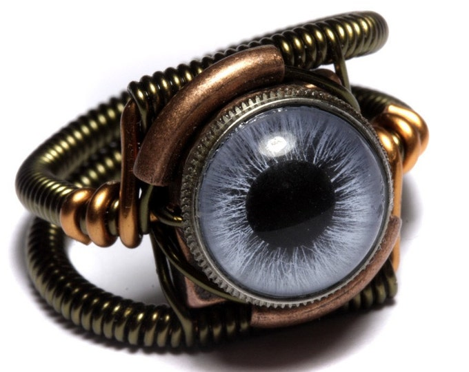 Eyeball ring, Blue taxidermy glass Eye,Steampunk Jewelry, beholder ring