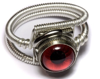 Eyeball ring, Red taxidermy glass Eye, Silver finish Steampunk Jewelry, beholder ring,Dungeons and dragons Jewelry -