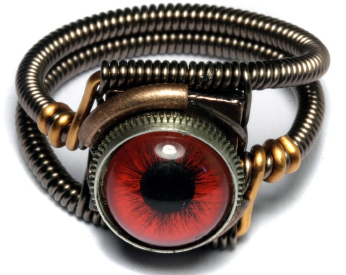 Eyeball ring, Red taxidermy glass Eye, Bronze copper finish, Steampunk ring, beholder ring
