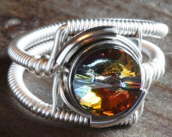 Cyberpunk Jewelry - RING - Volcano Swarovski Crystal