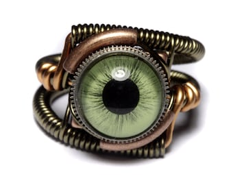 Eyeball ring, Green taxidermy glass Eye, Bronze copper or silver finish, Steampunk Jewelry