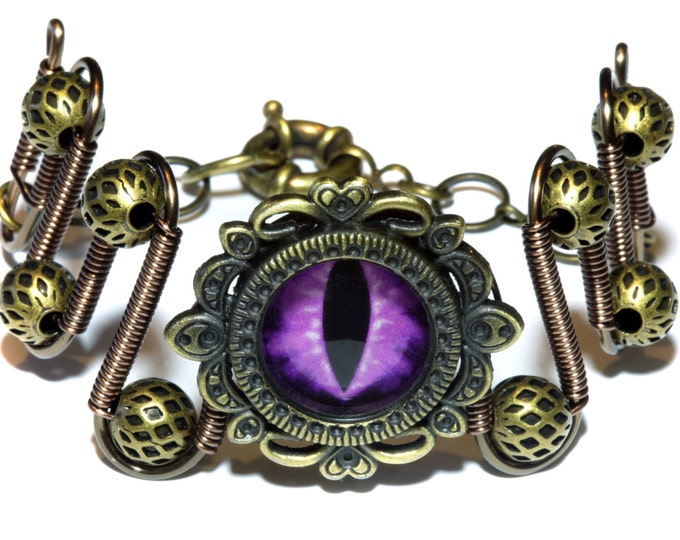 Bracelet with purple dragon eye,Dungeons and dragons Jewelry