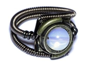 Steampunk Jewelry - Ring - Moonstone Opalite