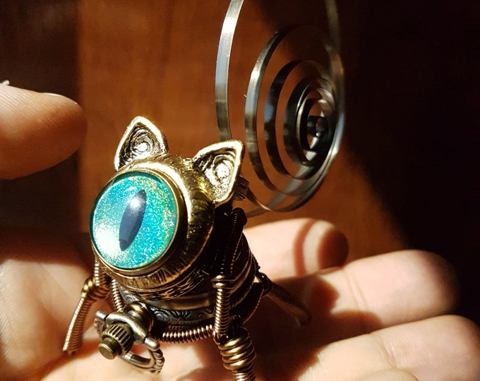 Little Steampunk cat robot sculpture - green blue iridescent eye