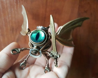Steampunk Modron, Flying Octopus Cthulhu Minion Robot with iridescent blue green eye and sword