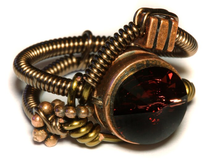 Steampunk Jewelry - Steampunk Wire Ring with Burgundy Swarovski Crystal -
