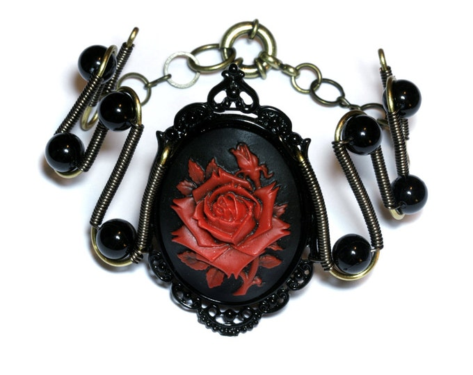 Steamgoth Bracelet - Black and Red  Rose Cameo