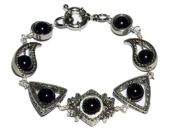 Neo Victorian Jewelry - Bracelet - Silver Tone with Black Onyx