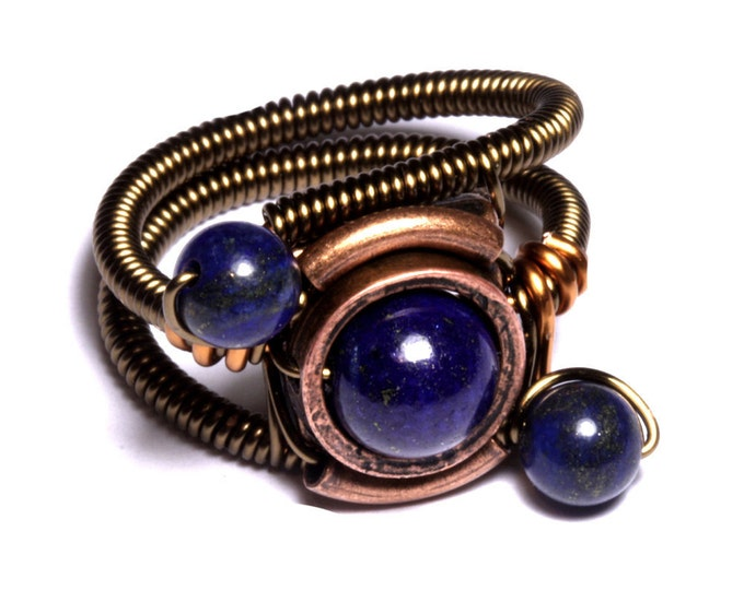 Lapis lazuli ring, Steampunk Jewelry - Ring - Lapis Lazuli - ORBIT (Custom size available - see description)