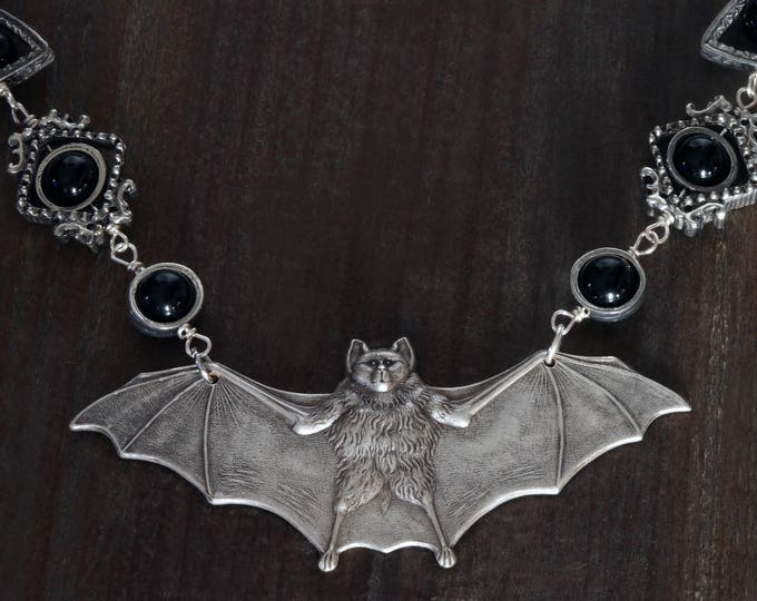 GOTHIC CHIC necklace, Antique silver bat with black onyx