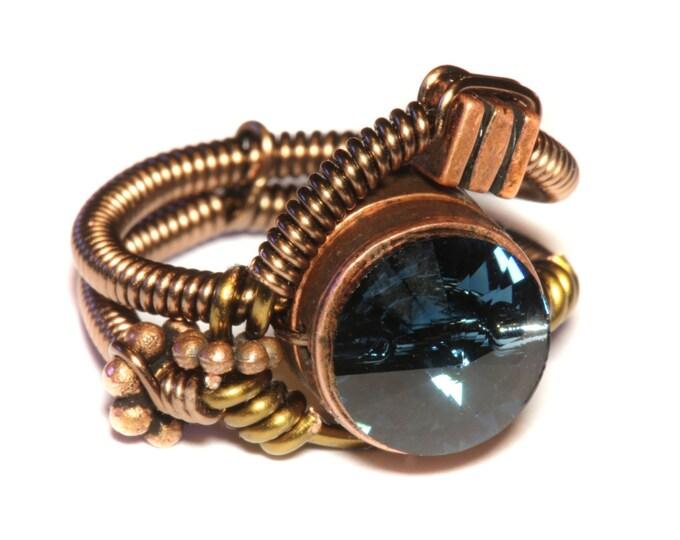 Steampunk Jewelry - Ring - Montana Blue Swarovski Crystal - Original design by Catherinette Rings