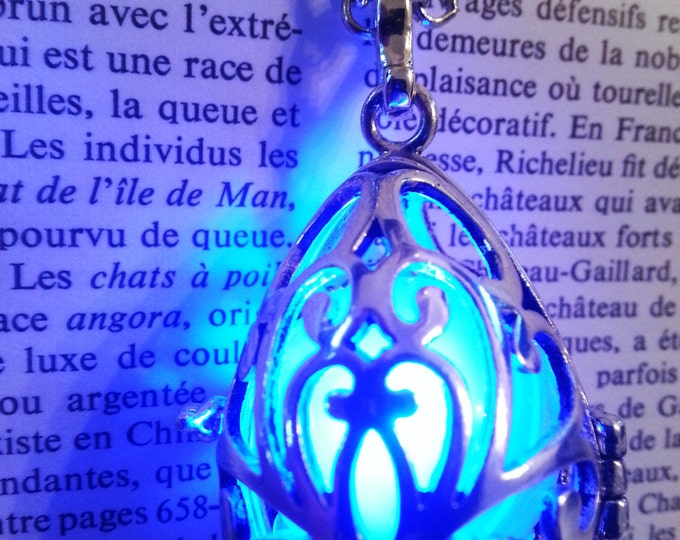 Necklace - Drop locket with blue glowing orb