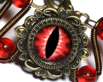 Dungeons and dragons Jewelry - Bracelet with red dragon eye, dnd