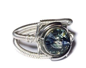 Steampunk Jewelry - Ring - Black Diamond Swarovski Crystal